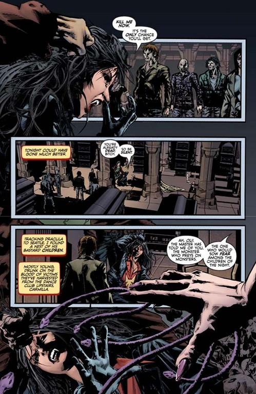 Vampirella #2, page 1. (Script: Trautmann; Art: Reis; Colors: Inlight Studios; Lettering: Dillon.)