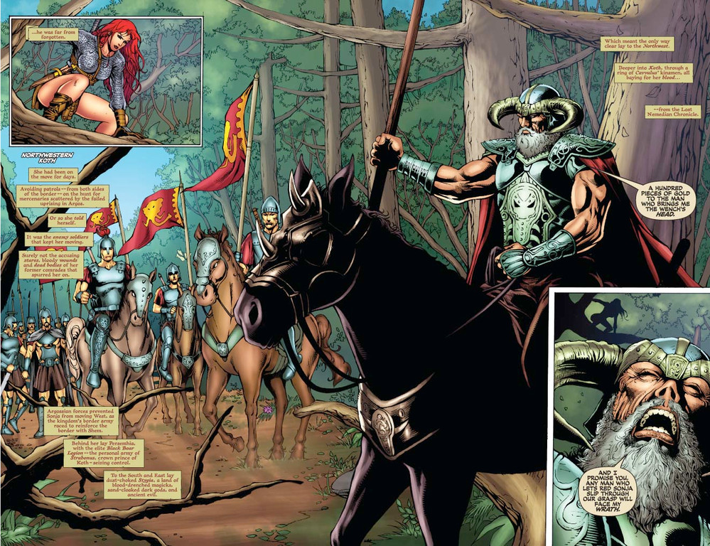 Red Sonja #56 pages 2-3 (Script: Trautmann / Art: Salonga)