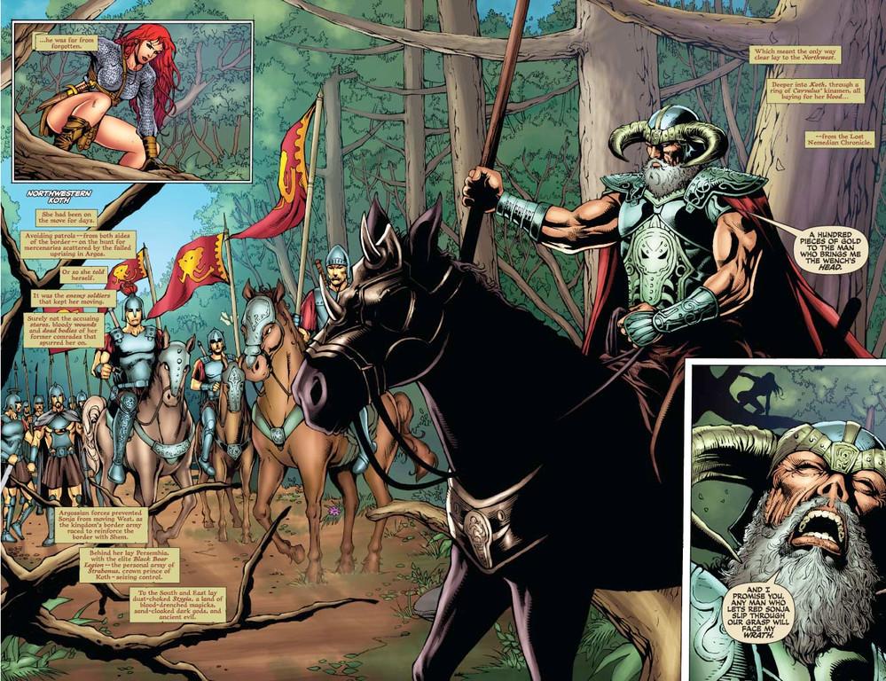 Red Sonja #56 pages 2-3 (Script: Trautmann / Art: Salonga)