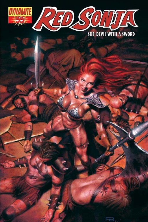 Red Sonja #55 cover by Patrick Berkenkotter