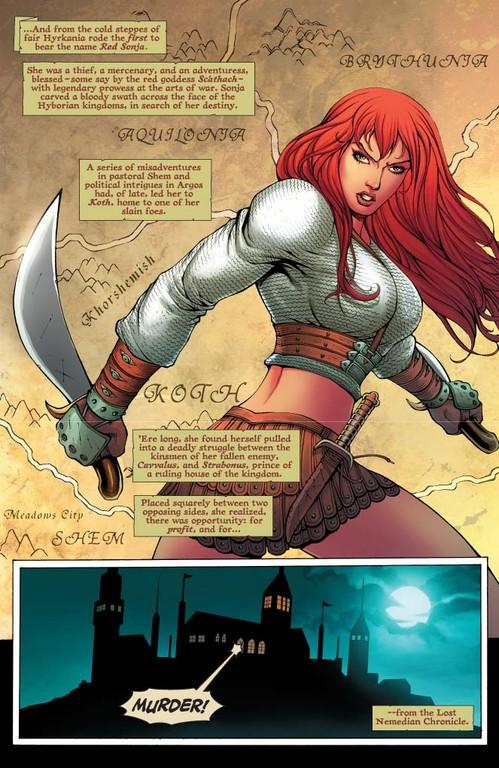 Red Sonja #58: Page 1 (Script: Trautmann / Art: Salonga)