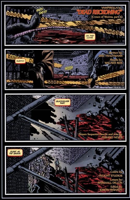 Vampirella #5: Page 1 (Script: Trautmann / Art: Reis & Inlight Studio)