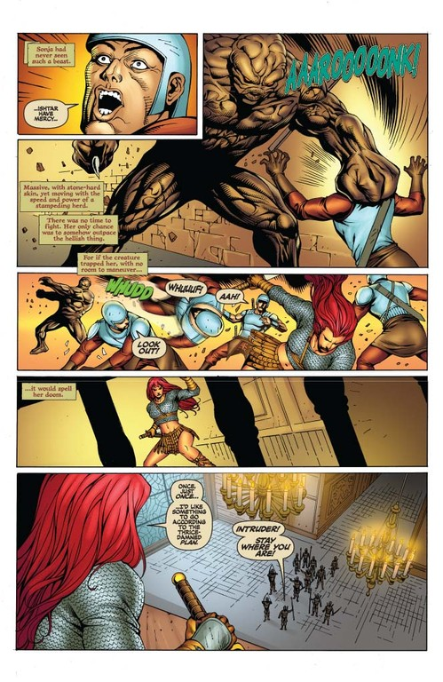 Red Sonja #57 page 4 (Script: Trautmann / Art: Salonga)