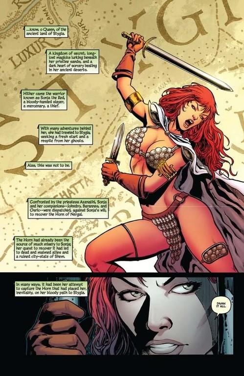 Red Sonja #64 -- page 1 (script: Trautmann / art: Geovani)