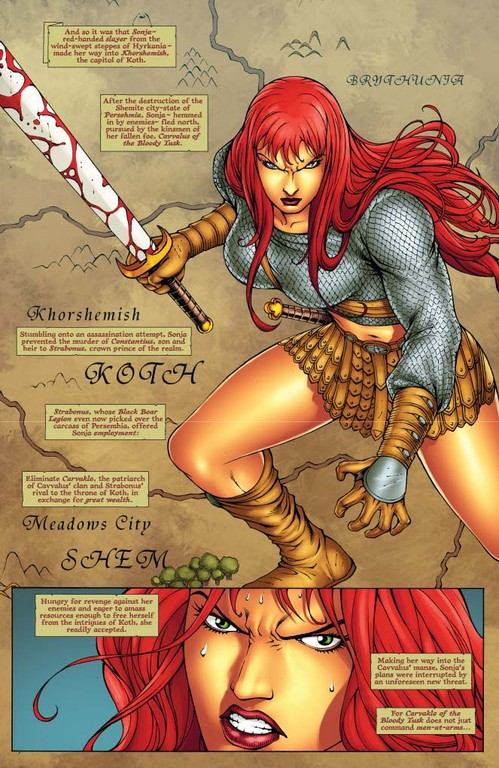 Red Sonja #57 - page 1 (script: Trautmann / art: Salonga)
