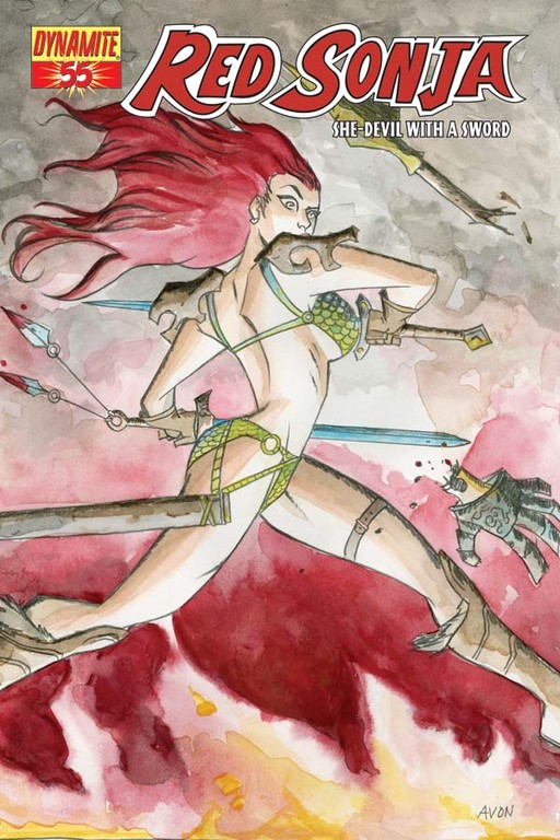 Red Sonja #55 cover by Michael Avon Oeming