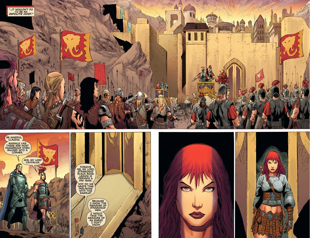 Red Sonja #54 - pages 4-5 (script: Trautmann / art: Geovani)