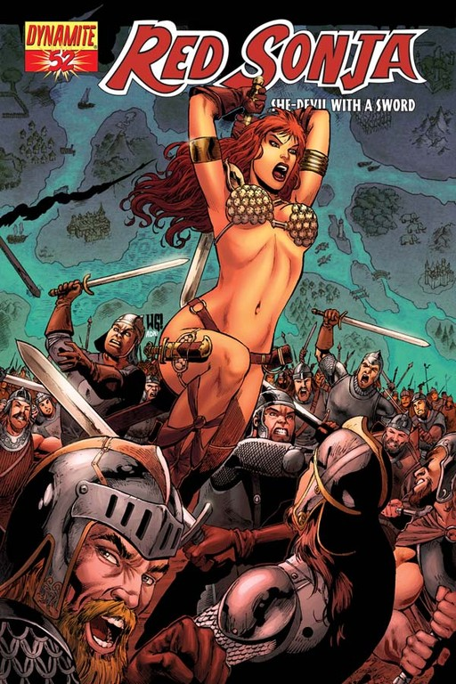 Red Sonja #52 cover by Walter Geovani