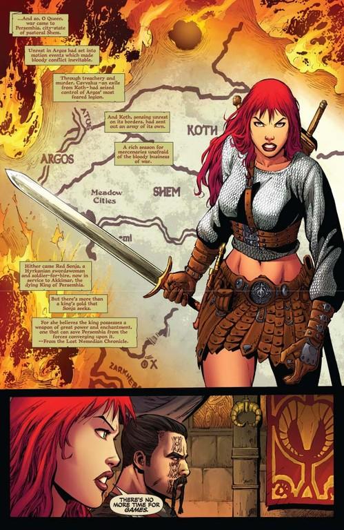 Red Sonja #54 - page 1 (script: Trautmann / art: Geovani)