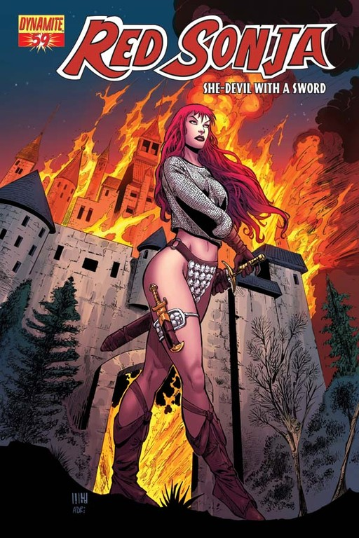Red Sonja #59 cover by Walter Geovani
