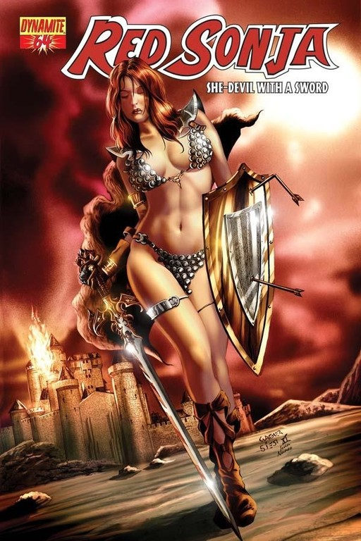 Red Sonja #64 cover by Wagner Reis