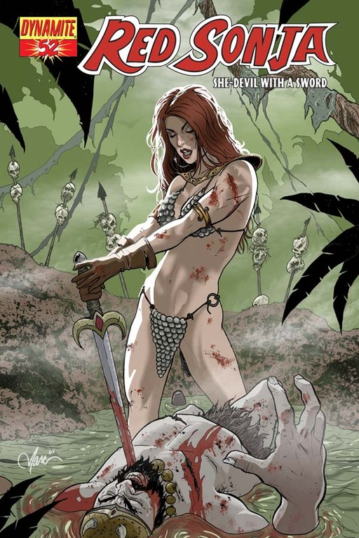Red Sonja #52 cover by Marc Wolfe