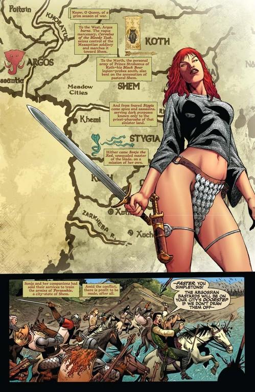Red Sonja #53 -- page 1 (script: Trautmann / art: Geovani)