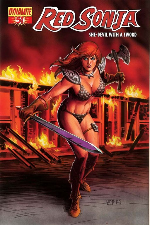 Red Sonja #51 cover by Joseph Michael Linsner