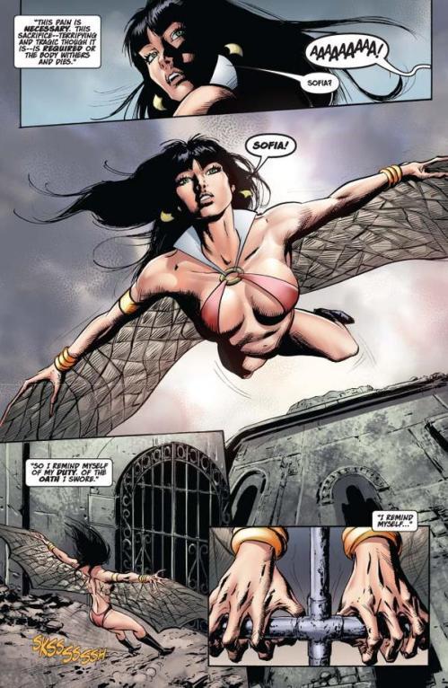 Vampirella #15 -- page 8 (script: Trautmann / art: Malaga)