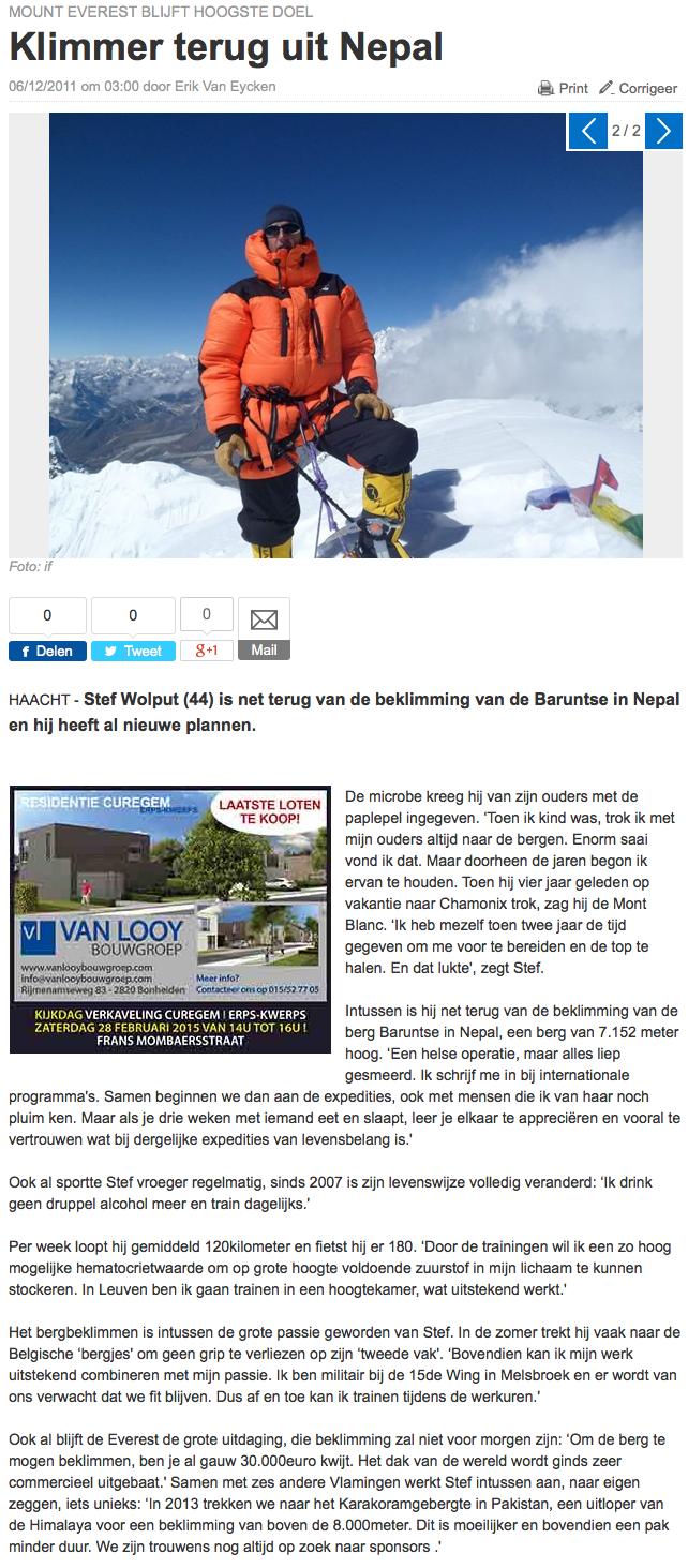 Het Nieuwsblad.be 6 december 2011