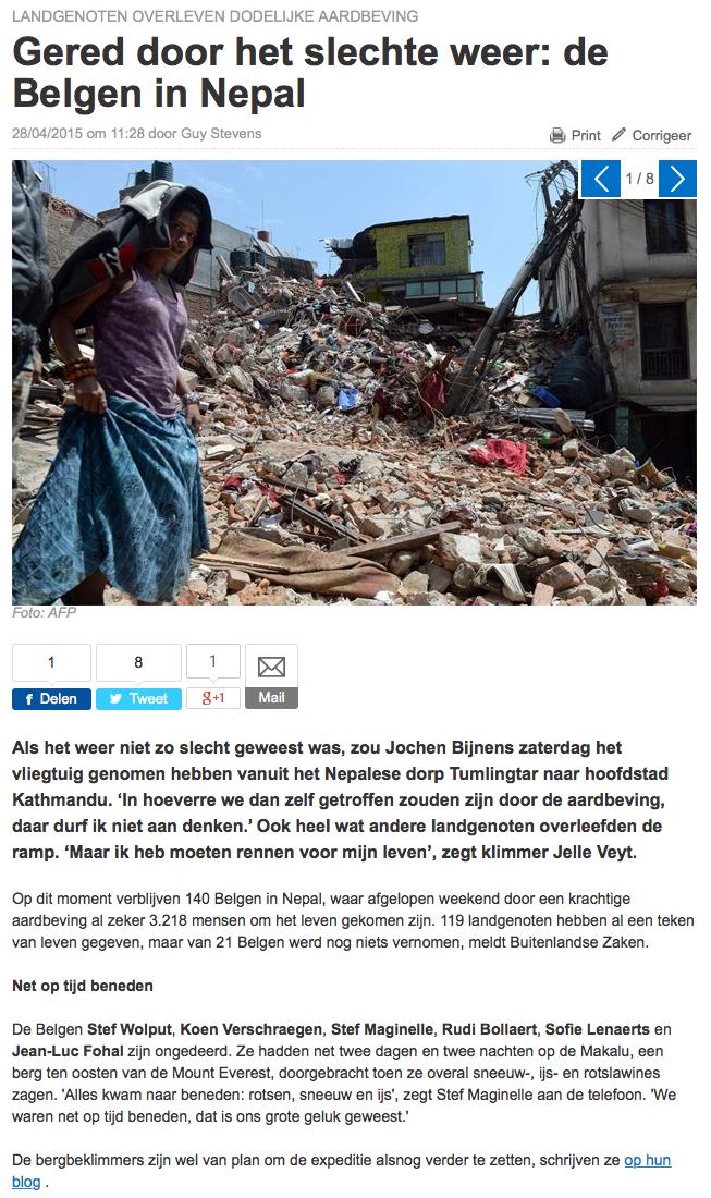 Het Nieuwsblad.be 28 april 2015