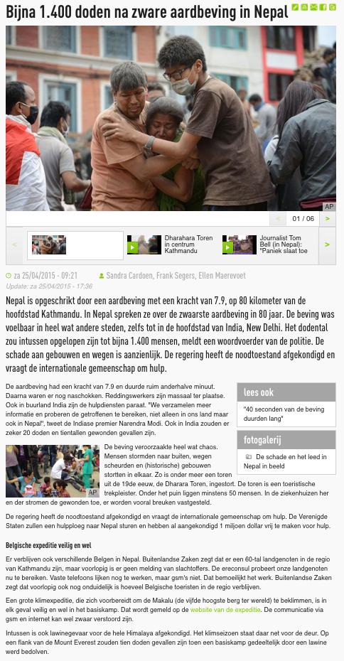 De Redactie 25 april 2015
