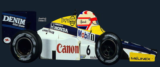 Nigel Mansell del Canon Williams Honda Team con un Williams FW10 - Honda by Muneta & Cerracín