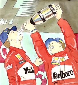 Eddie Irvine & Michaël Schumacher by Muneta & Cerracín