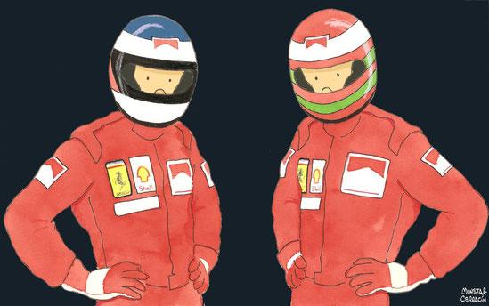 Michael Schumacher & Eddie Irvine by Muneta & Cerracín
