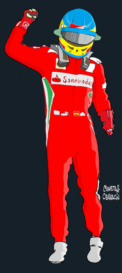 Helmet of Fernando Alonso by Muneta & Cerracin