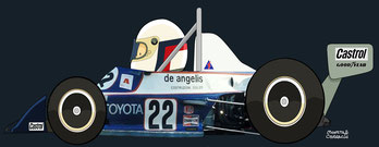 Elio de Angelis by Muneta & Cerracín -  Italian Champion Chevron B38 in 1977, winning at Monaco en 1978.