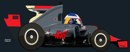 Romain Grosjean by Muneta & Cerracín - Romain Grosjean en su Haas VF-16 en 2016