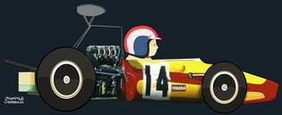 François Cevert by Muneta & Cerracín - Tecno 68-Cosworth FVA - Tecno Racing Team - XXIX Grand Prix Automobile de Pau 1969 F2