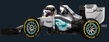 Lewis Hamilton by Muneta & Cerracín - Lewis Hamilton del Mercedes AMG Petronas F1 Team con un Mercedes F1 W06