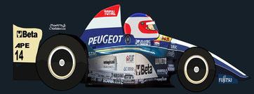 Rubens Barrichello by Muneta & Cerracín - Total Jordan Peugeot Jordan 195 - Peugeot V10