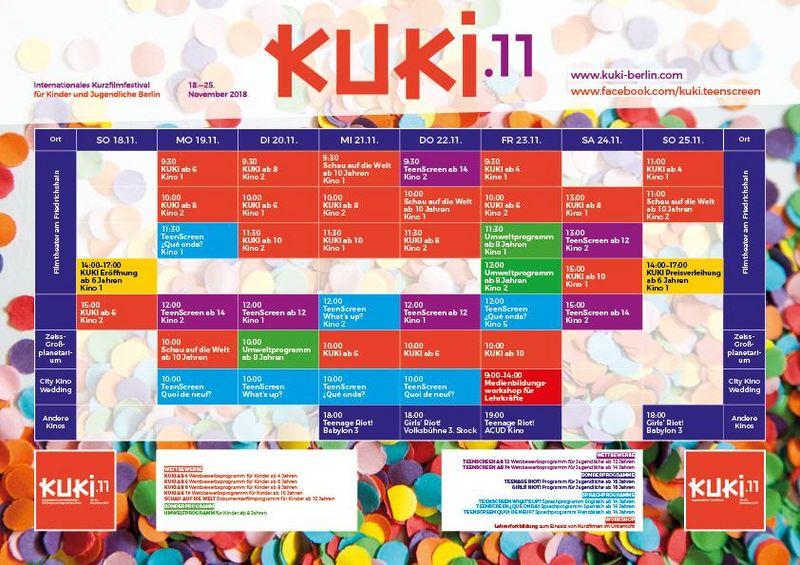 Übersicht Kalender 11. Internationale Kurzfilmfestival KUKI