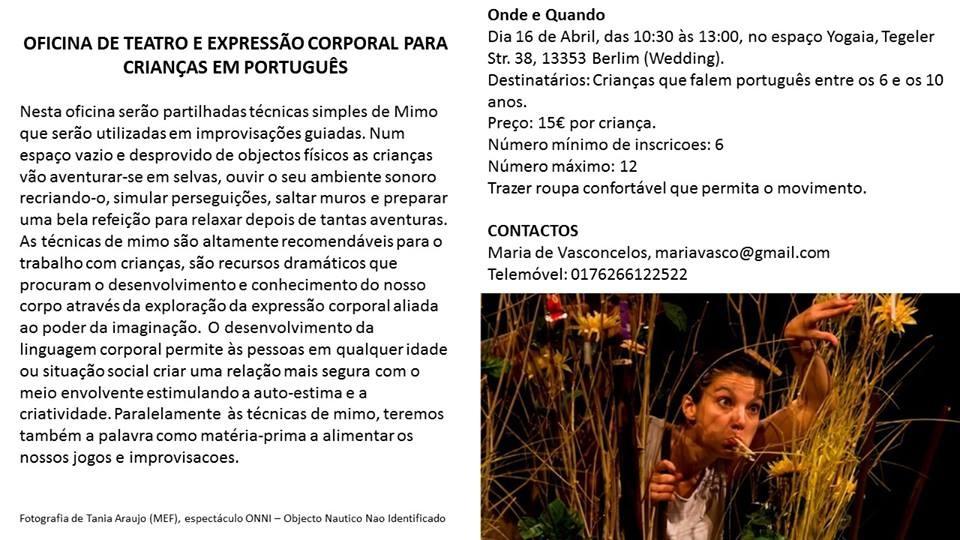 Kinderworkshop und kulturspezifische Ausdrucksformen aud portgiesisch
