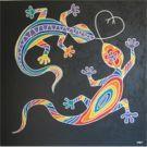 Rainbow Lovin'Geckos 90x90cm / Fr. 1100.00