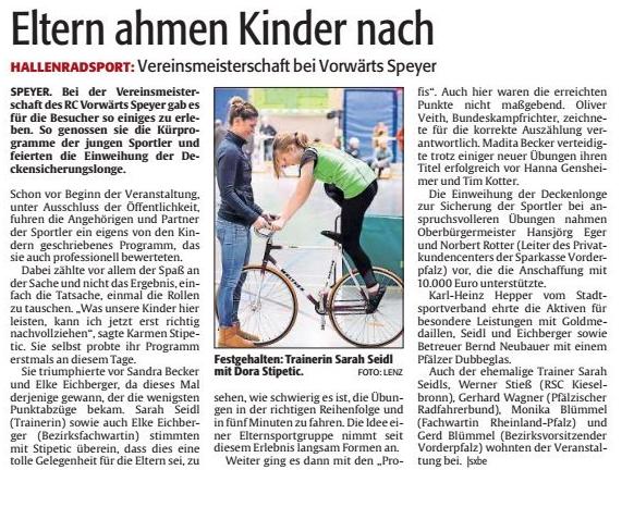Artikel aus der Rheinpfalz vom 5. Dezember 2017 zu den Vereinsmeisterschaften der Kunstradabteilung RC Vorwärts Speyer e.V. . Foto: Lenz