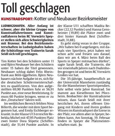 Artikel aus der Rheinpfalz, Speyerer Rundschau, vom 27. Januar 2017.