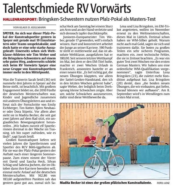 Bericht aus der Rheinpfalz vom Montag, 27. August 2018. Foto: Lenz
