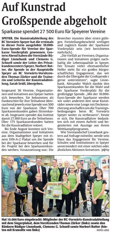 Artikel aus Der Rheinpfalz vom 20. Oktober 2016, Foto: Lenz