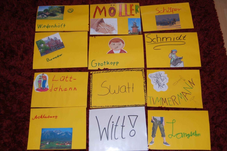 Das sind die Namensschilder unserer einzelnen Arbeitsgruppen.