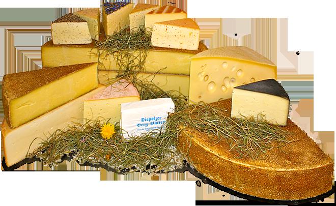 Käse aus Diepolz, Bergkäserei, Sennerei Dipolz, Emmentaler, Allgäuer Käse, Diepolzer Emmentaler, Butterkäse, Allgäuer Butterkäse, Pfefferkäse, Kräuterkäse, Thymiankäse, Bergbutter, Allgäuer Kräuterkäse