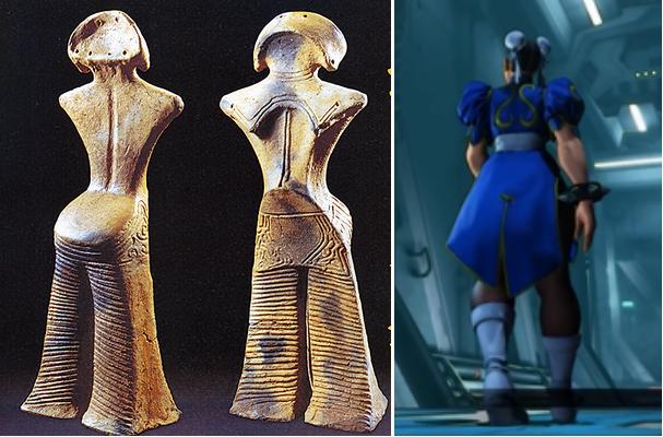(左)国宝「縄文の女神」    (右)ゼネスト春麗さん