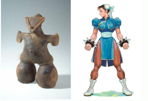 (左)国宝「仮面のビーナス」 (右)あきまん様の春麗さん
