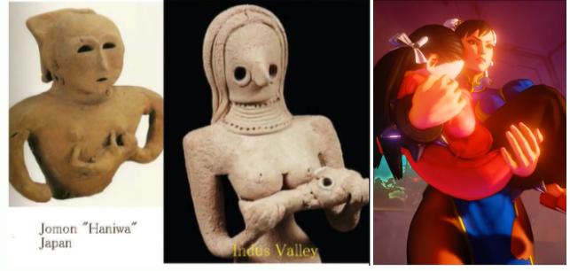 (左)縄文の埴輪   (中央)インダスの女神    (右)ゼネスト春麗さん