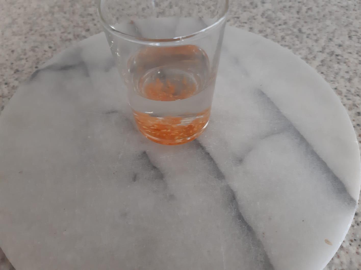 Die Samen in das Wasserglas geben....