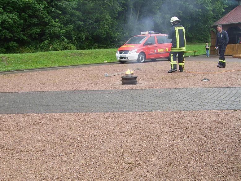 Ein brennender Topf mit Öl, wer es richtig macht legt einfach den Deckel drauf und erstickt die Flammen!