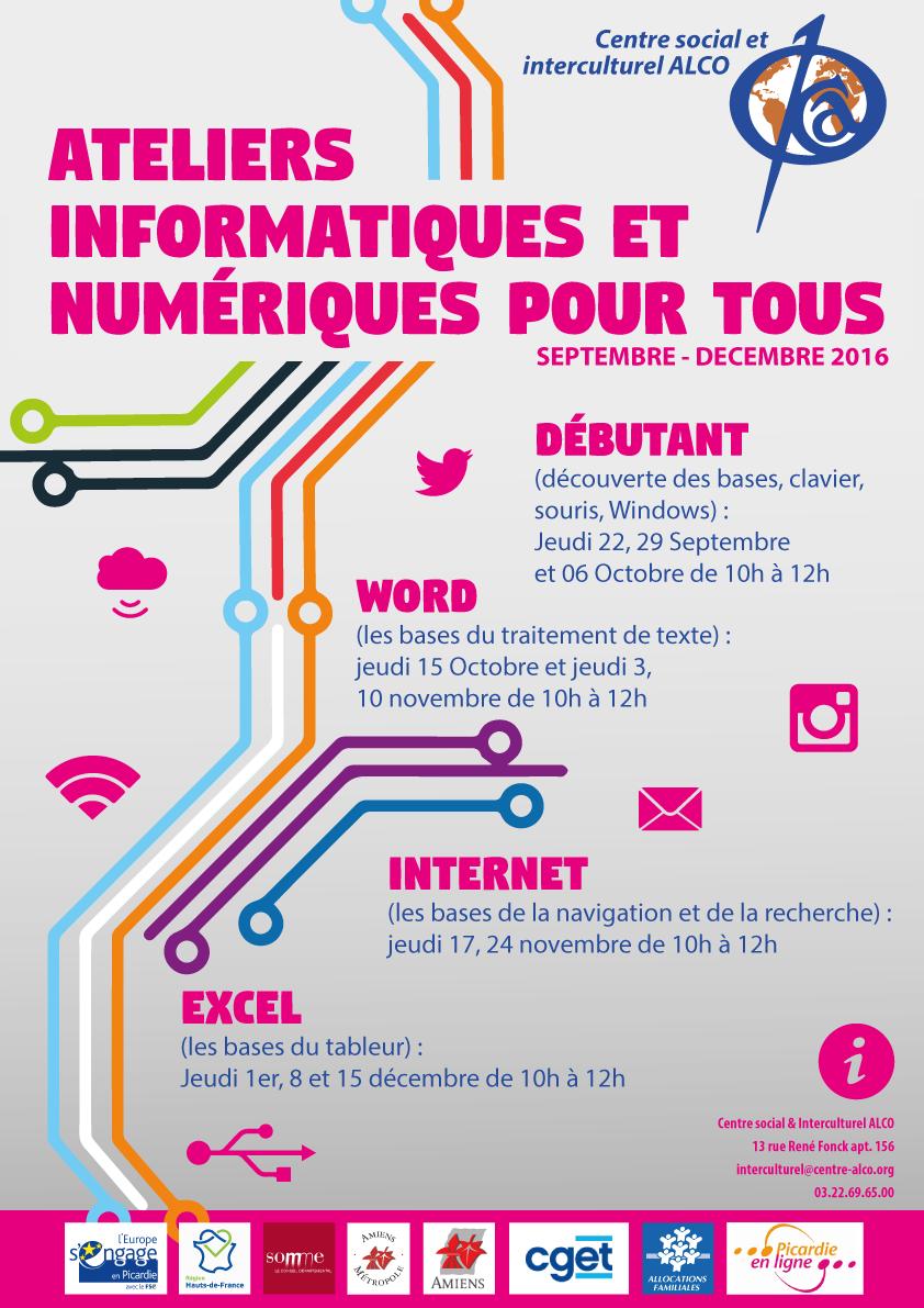 Affiche ateliers multimédia du centre social et interculturel ALCO