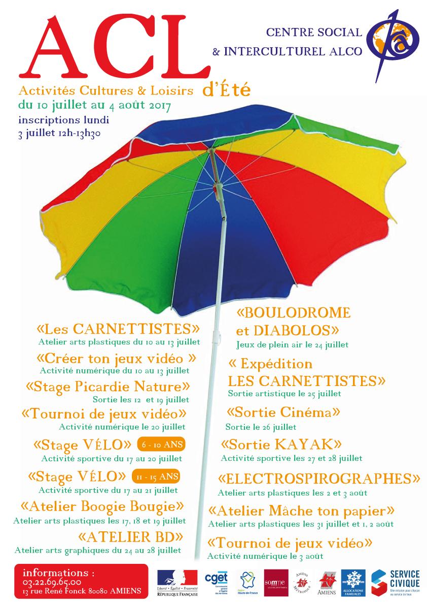 Programme des activités cultures et loisirs du centre social et interculturel ALCO pour les vacances d'été 2017