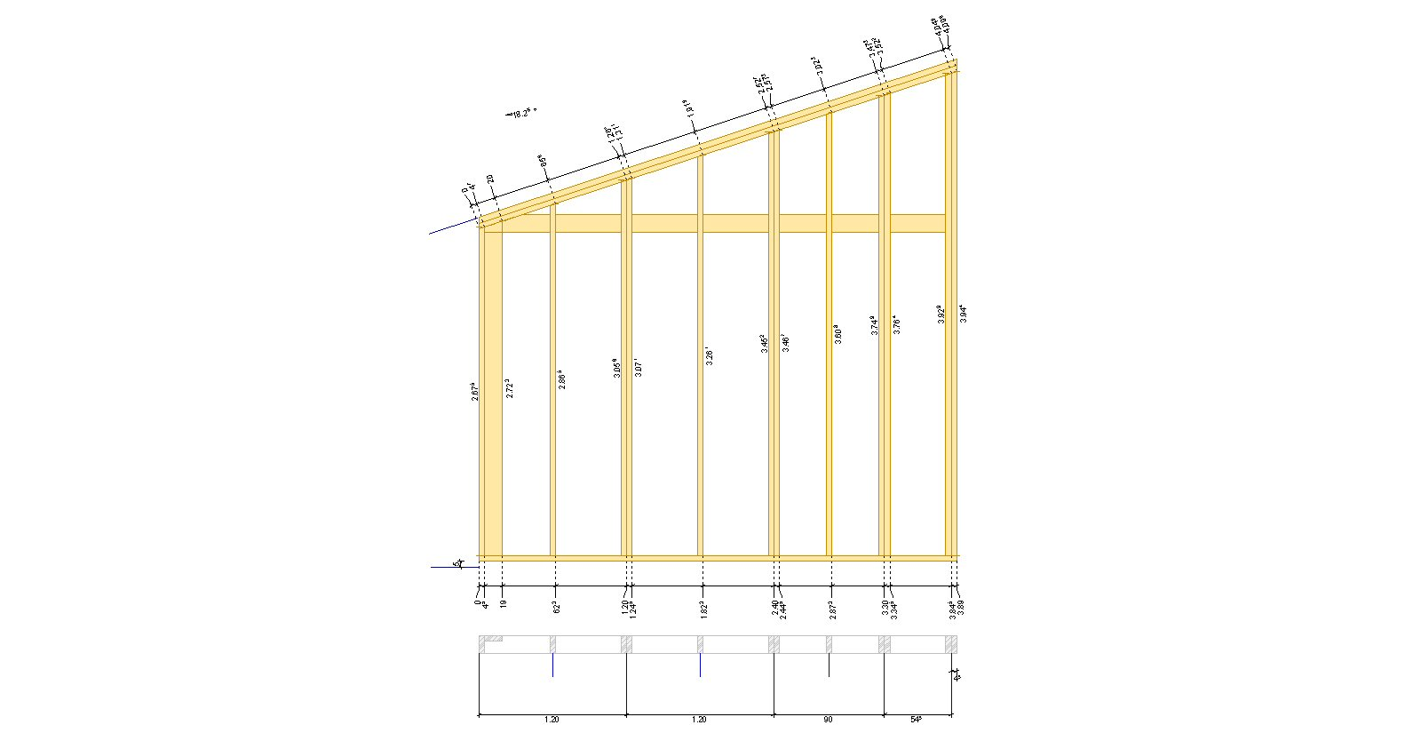 plan mur pignon ossature bois