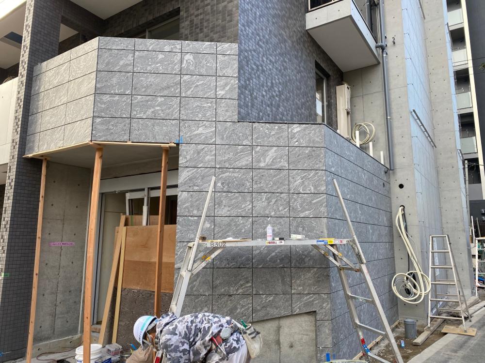 葛西某マンション 新築外壁 自社輸入 ファンタジーグレーJB