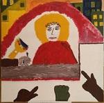 Bild Jesu vor Pilatus- aus dem Kreuzweg in Sanke Edith Stein, gemalt 2019 von den Messdienern
